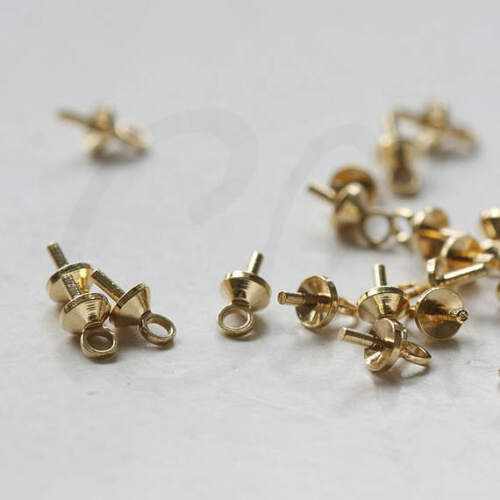 3.8mm 3417C 40 Pieces Raw Brass Glue On Bead Cap with Peg