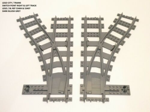 LEGO SWITCH POINT RIGHT /& LEFT TRAIN TRACK #53404 /& 53407 GENUINE 2 PIECES VGC