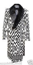 New Versace Printed Wool Coat With Mink Fur for Men 50 - 40