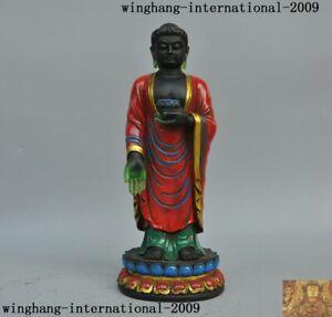 Chinese Tibetan Buddhism Blue Glass Tathagata Amitabha Tibet Glass Buddha Statue