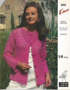 tienda de descuento gran colección nueva alta calidad Detalles de Vintage Crochet Patrón Pretty Chaqueta Para Mujer- ver título  original