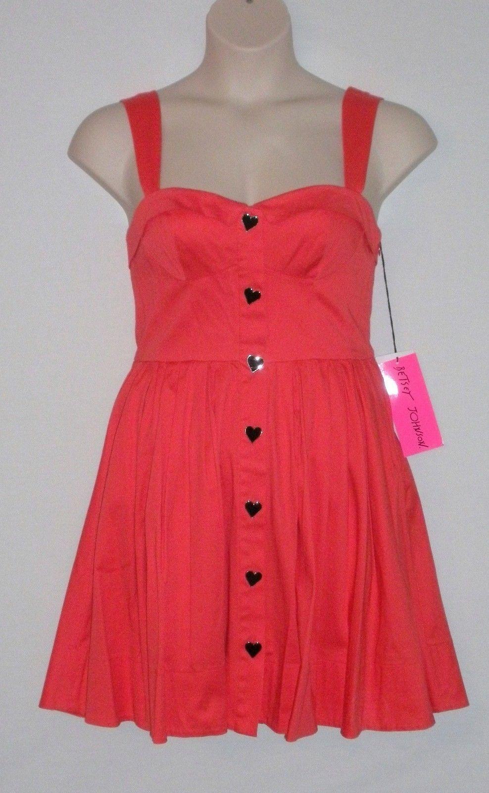 NWT  BETSEY JOHNSON Sleeveless Heart-Button A-Line Dress, Größes 8 10, Melon