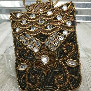 Hand-Made-India-Wrist-Black-Gold-Sequin-Beaded-Wrist-Small-Hand-Bag-Clutch
