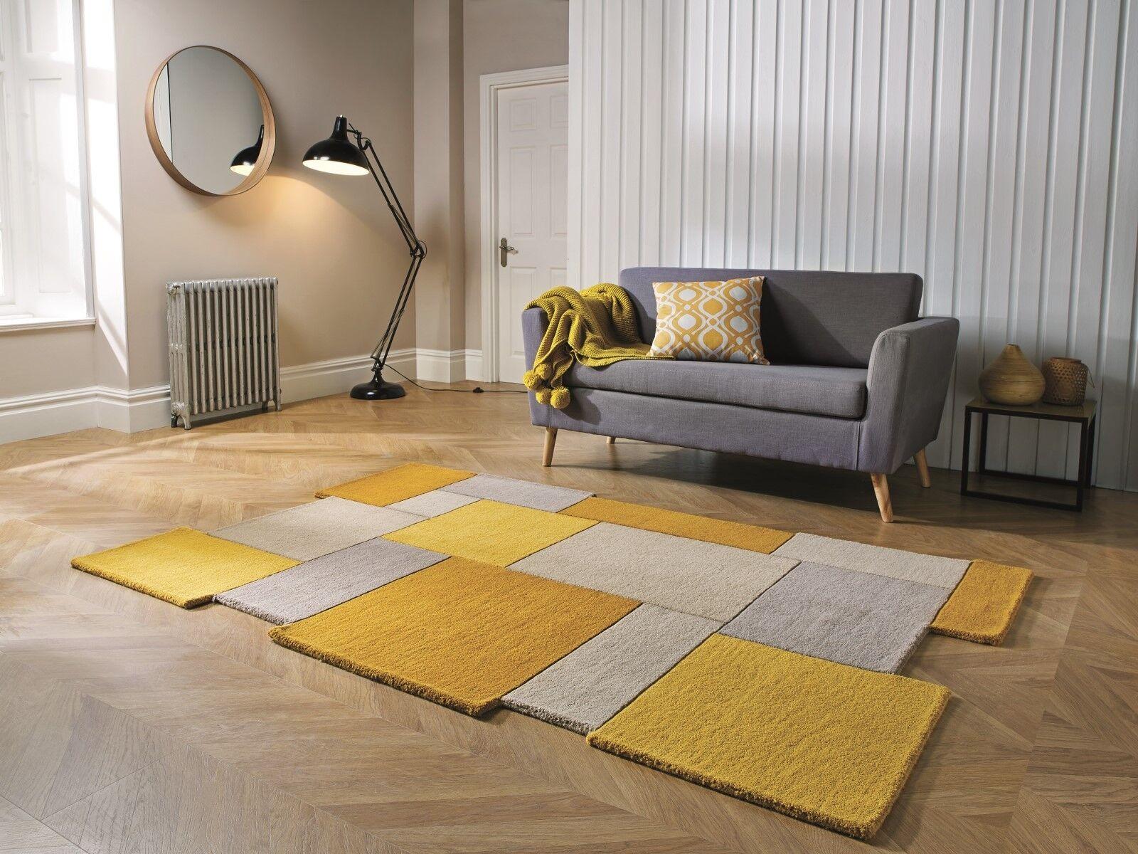 Amarillo Ocre Abstracto Collage De Lujo Lana Alfombra en en en Varios Tamaños 2c5261