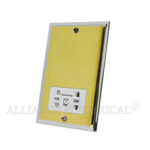Slimline Satin Brass Polished Chrome Edges Shaver Socket Dual Voltage 115V//230V