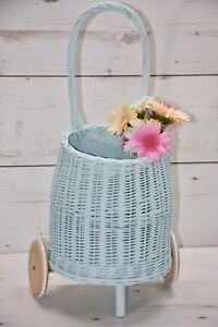 Hand Made Wicker Cart On Wheels For
