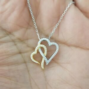 14k-Yellow-Gold-amp-Sterling-Silver-Diamond-Double-Heart-Pendant-Necklace