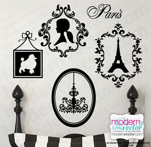 Image is loading PARIS-THEME-Vinyl-Wall-Decals-Eiffel-Tower-Poodle- & PARIS THEME Vinyl Wall Decals Eiffel Tower Poodle Silhouette ...