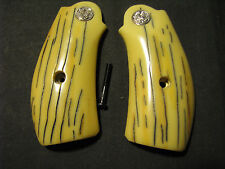 Smith Wesson N Frame Smooth AGED Bonded Ivory Round-Butt Grips W/S&W Medallions