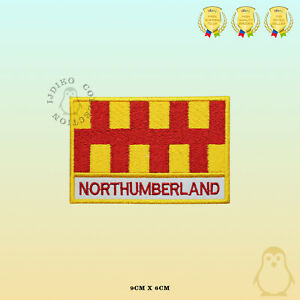 NORTHUMBERLAND-County-Flag-With-Name-Embroidered-Iron-On-Sew-On-Patch-Badge