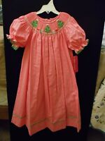 Claire & Charlie Smocked Holiday Winter Bishop Hot Pink W/ Green Trees.....