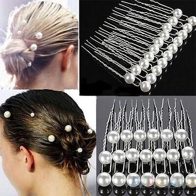 20 Haarnadeln weiß Perlen Nadel Haarklammer Hochzeit Brautschmuck Kopfschmuck