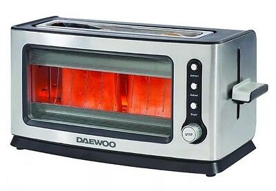 Daewoo 2 Bread Slice Stainless Steel & Glass Toaster Defrost, Reheat Bagel New