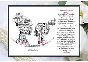 Personalised Wedding Day Poem Gift From Mother of Bride to Daughter ...