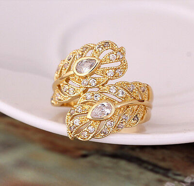 Delicate White Sapphire CZ Rings Leaf shaped Band 10KT Yellow Gold Filled Womens