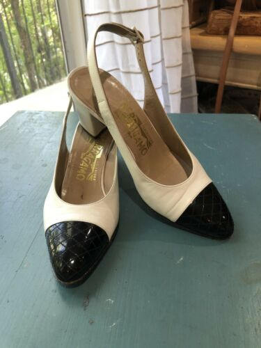 Ferragamo Vintage 70s Black & White Leather Slingb