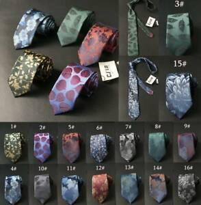 Mens-Necktie-Floral-Leaf-Plant-Ties-Silk-Formal-Business-Skinny-Slim-Narrow-7CM