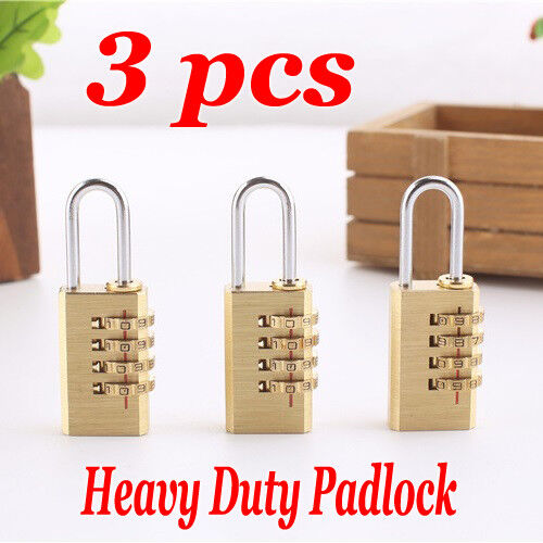 3x Keyless 4 Digit Combination Travel Safely Padlock For Luggage Suitcase Bags
