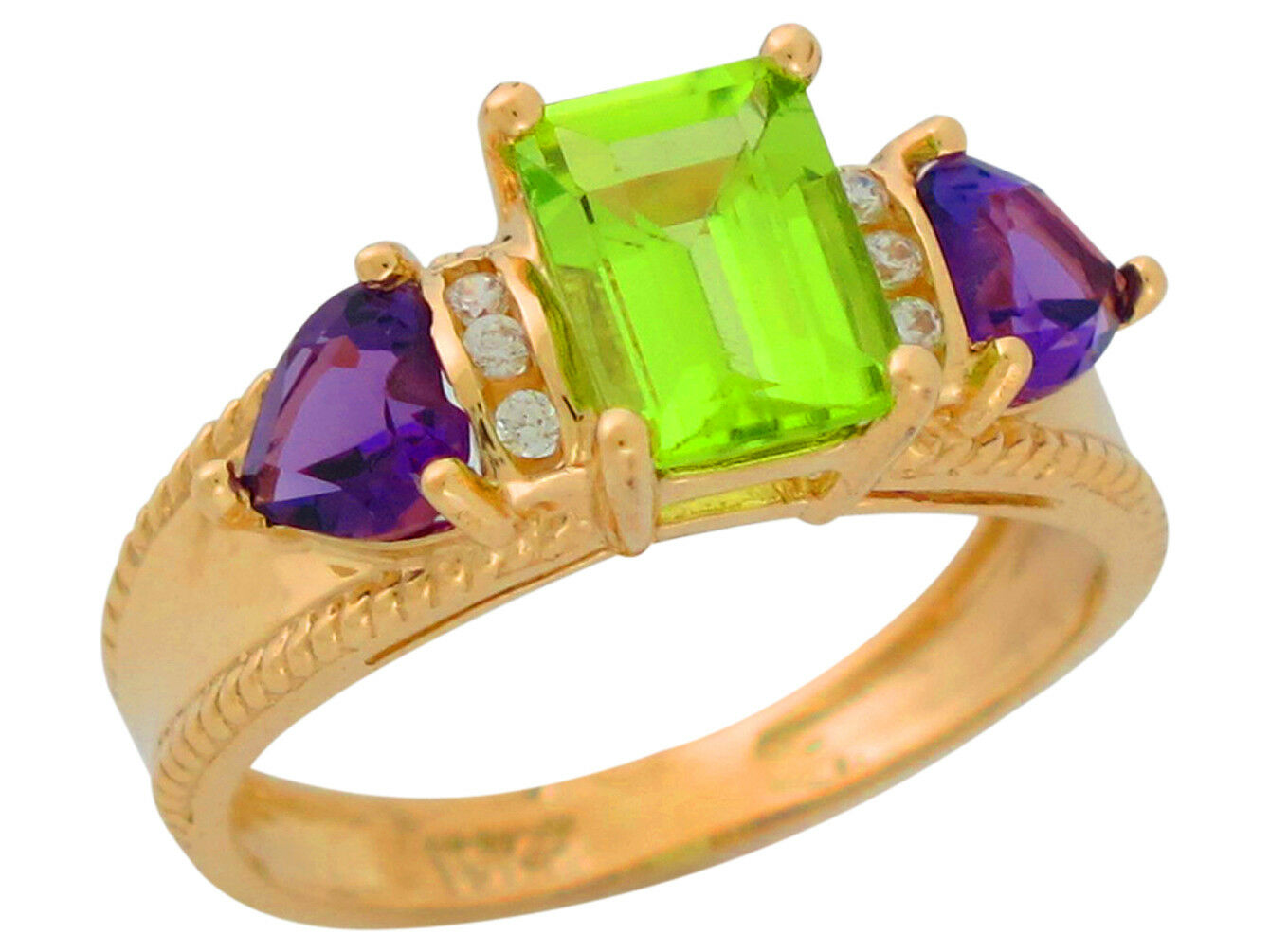 10k or 14k Yellow gold Genuine Peridot Amethyst and Diamond Accented Ladies Ring