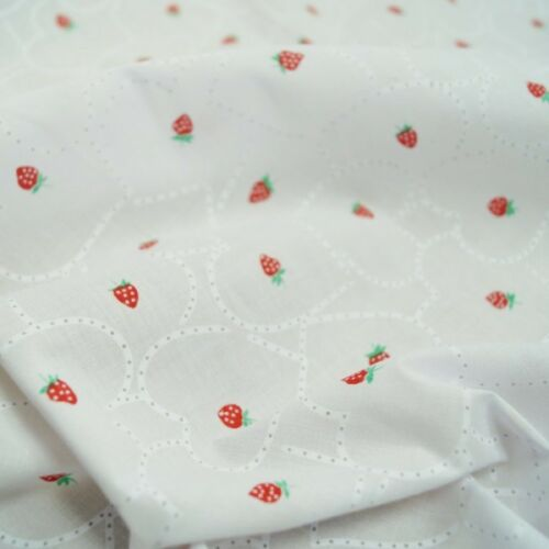 Strawberries In Hearts Polycotton Fabric