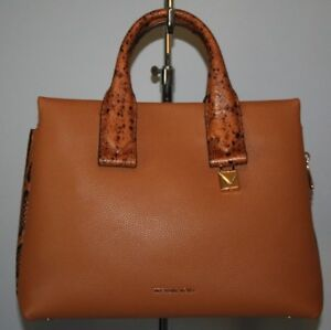 edee65c1c44a Image is loading MICHAEL-KORS-ROLLINS-SMALL-SATCHEL-ACORN-LEATHER-30F8GX3S1L