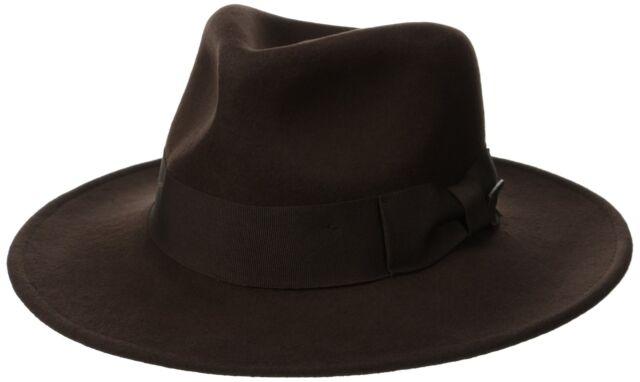 16be0d924 Dorfman Pacific 5328 Mens Indiana Jones Brown Crushable Wool Fedora L BHFO
