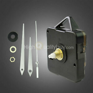 Black-Quartz-Wall-Clock-Movement-Mechanism-Long-White-Hands-DIY-Repair-Parts-Kit