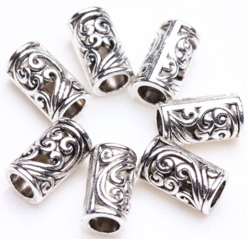 Lots Tibetan Silver Tube Charm Loose Spacer Beads Bracelet Jewelry Finding 8x5mm