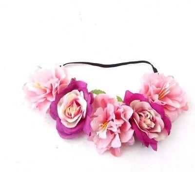 Blush Hot Pink Peony Flower Headband Festival Garland Crown Hair Crown Vtg 4700