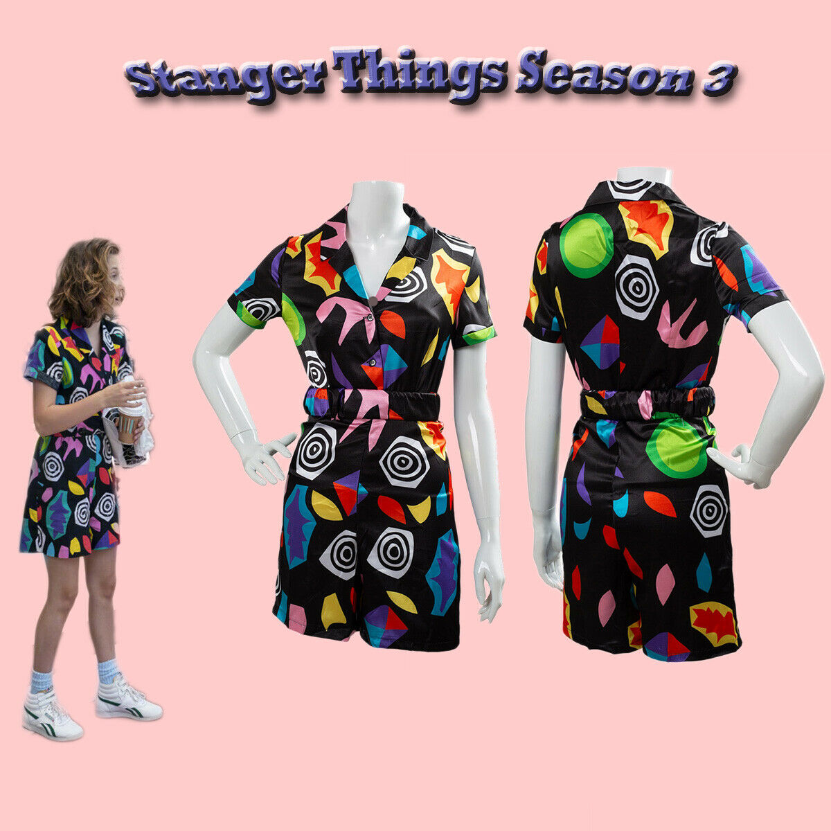 Stranger Things Season 3 Eleven Cosplay Costume Playsuit Dress Outfit Halloween Ebay