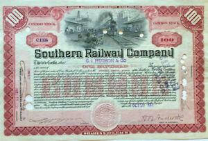 Southern Railway Company railroad stock certificate