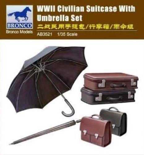 Bronco Models WWII Civilian Suitcase with umbrella Set 1:35 Bausatz Kit AB3521
