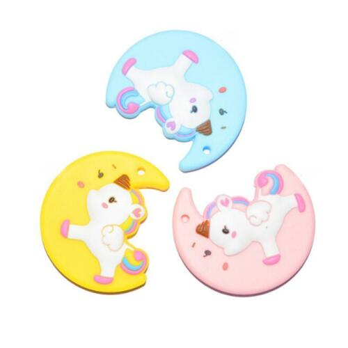 Unicorn Moon Shape Silicone Teether Baby Soother Chewable Teething Toy Fun Q