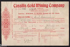 Details about Australia - Share Scrip  1905 Cassilis Gold Mining Co N/L    Gippsland Vic