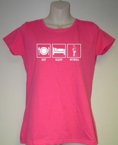 "SLEEP,NETBALL ICE SKATING Ladies Slogan T-Shirt /""EAT"