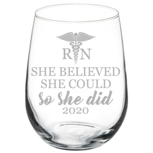 She Believed She Could So She Did 2020 RN Nurse Student Graduate Grad Wine Glass