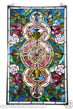 """32"""" VICTORIAN FLORALS TIFFANY STYLE ENGULFED STAINED GLASS WINDOW PANEL"""