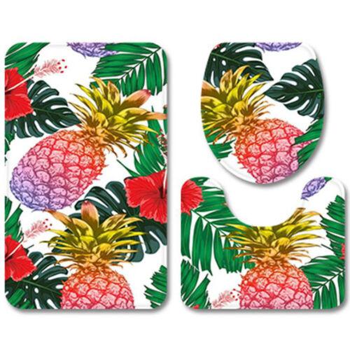 3PCS Pineapple Print Non-Slip Bath Mats Sets Pedestal Rug Toilet Lid Seat Cover