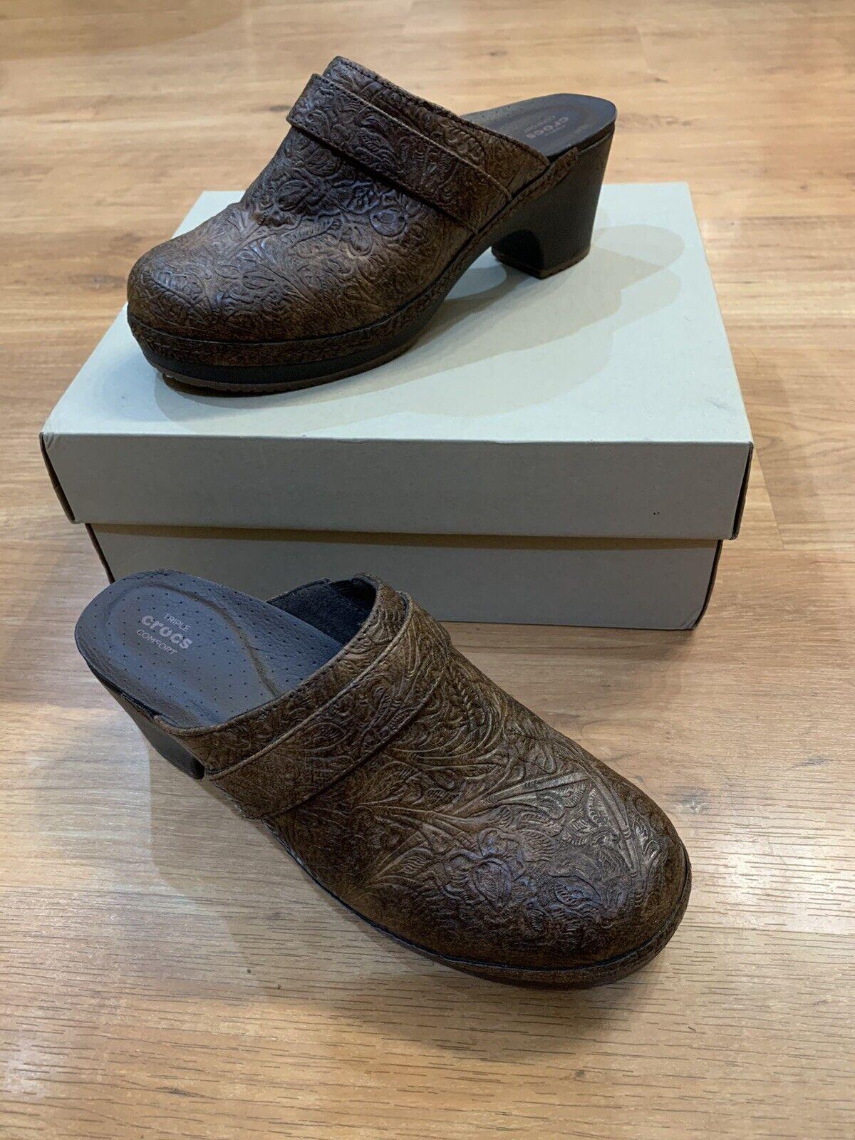 Crocs Sarah Tooled Clog Brown Triple Comfort Slip On Shoes 203911 Women's Size 7