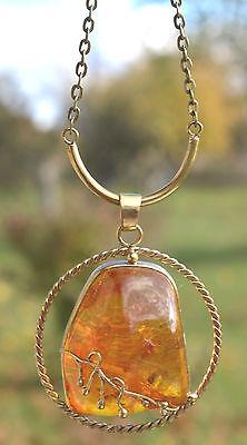 Luxurious big pendant of brass cognac amber Handmade of designer luxury & UNIT