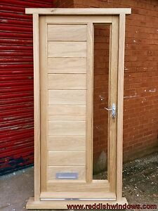 Solid Oak Front Door With Side Vision Panel Made To