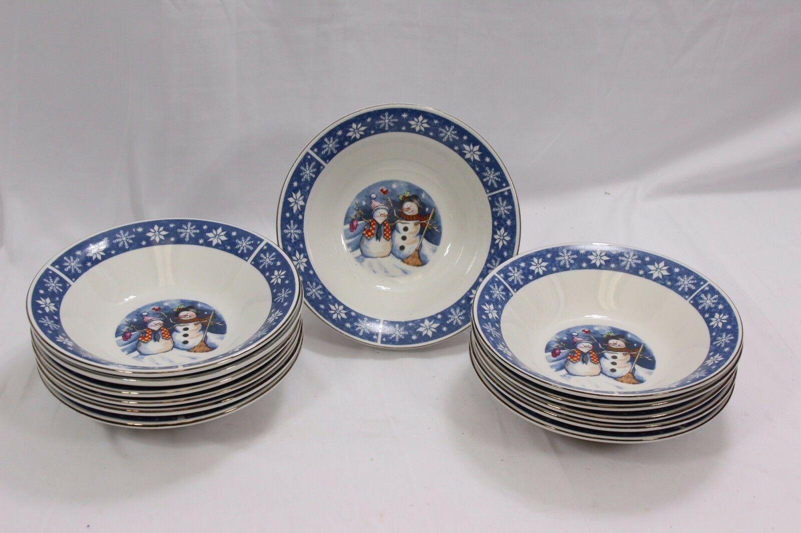 Crofton Snowmen Soup Cereal Bowls 7.5  Set of 12 Xmas