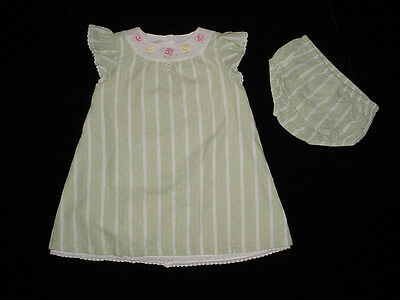 Baby & Toddler Clothing Purposeful Euc Janie & Jack Delicate Rose Green Striped Lace Trim Floral Dress 3-6 M Vhtf Terrific Value