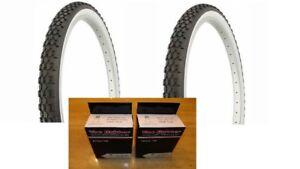 2 Pair 2 Tubes Duro Knobby Bicycle Tires Black Wall 26X2.125 Beach Cruiser