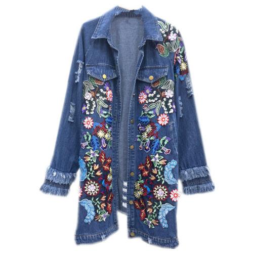 2020 Womens flower embroidery denim jacket long denim jeans coat parkas outwear