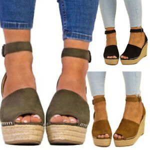 Women 3 Strap Espadrilles About Shoes Wedge High Open Heels Details Ankle Sandals Platform Toe QdshCxtr