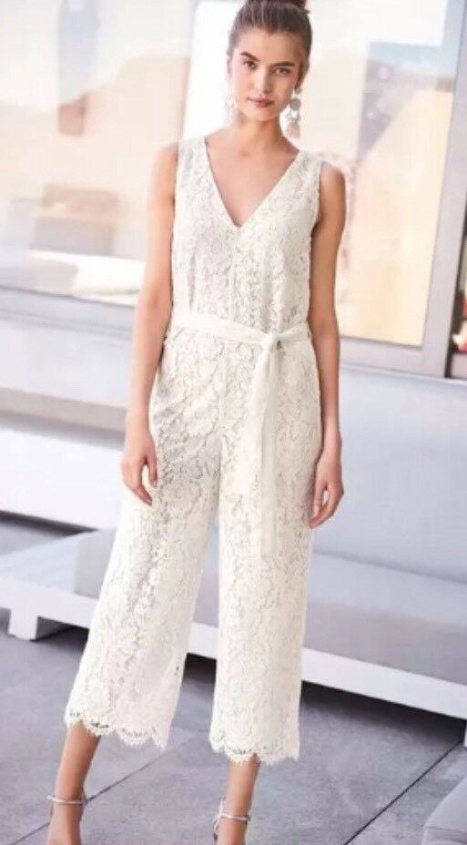 b036abf08611 NEXT SIZE 12 PETITE WIDE LEG ALL OVER LACE IVORY CREAM CULOTTES JUMPSUIT  BNWT