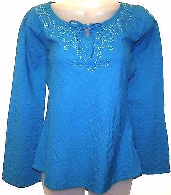 BLUE VISCOSE EMBROIDERED TUNIC HIPPIE BOHO FESTIVAL TOP FREE SIZE  # H202*