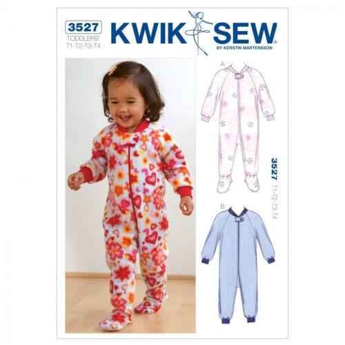Free UK P/&P Kwik Sew Toddlers Sewing Pattern 3527 Sleepers Pyjamas Ones...