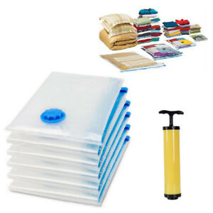 VACUUM-SEAL-STORAGE-BAGS-SAVING-SPACE-COMPRESSED-ORGANIZER-TRAVEL-BAG-amp-PUMP